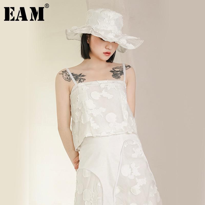 [EAM] 2019 New Spring Summer V-collar Sleeveless Irregular Ruffles Brief Personality Tank Tops Women Fashion Tide JX183
