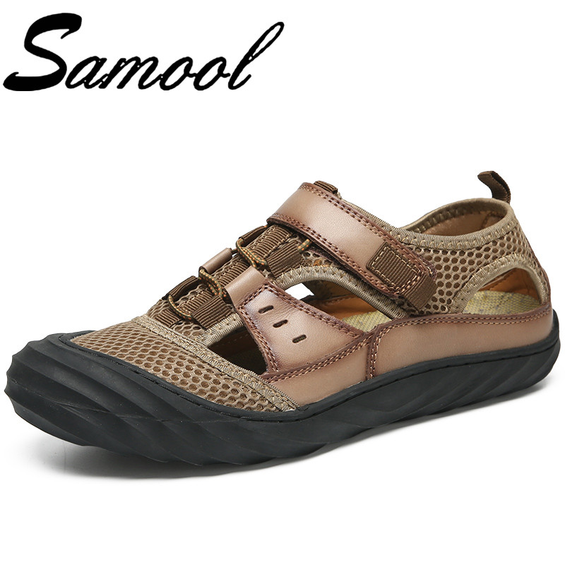 Summer Fashion Men Beach Sandals Breathable Hollow Rubber Sole Outdoor Male Casual Leather Sandals Flats Waterproof Sandals Sx3