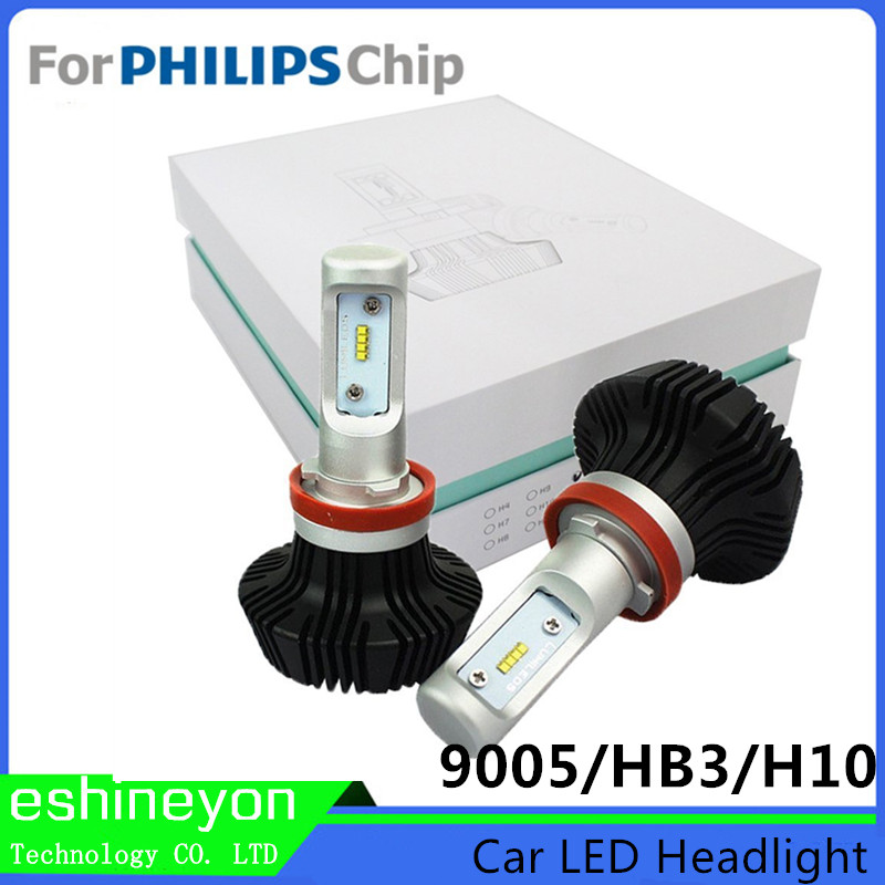 ФОТО 2016 Car Styling LED Headlight  9005(HB3) H10  For Philips-ZES Chips 12V 24V Conversion Kits Replaceable Vehicles Headlamp