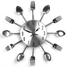 цена на Modern Design Silver Wall Clock Cutlery Kitchen Wall Clock Spoon Fork Kitchen Clock Saat