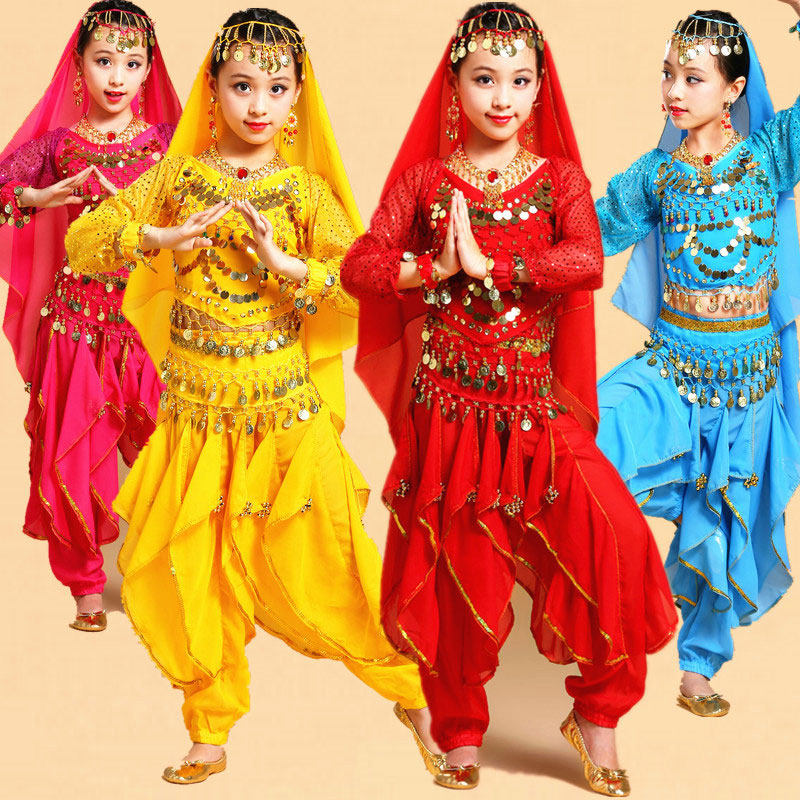 Long Sleeve Kid Girls Belly Dancing Costume Set Kids Performance Indian Dance Children Girl Bellydance Girl Egypt Dance Costumes