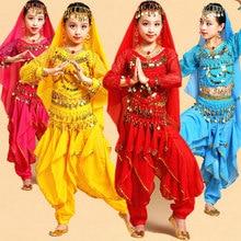 Belly Dancing Costume-Set Performance Egypt Long-Sleeve Girls Kid Children