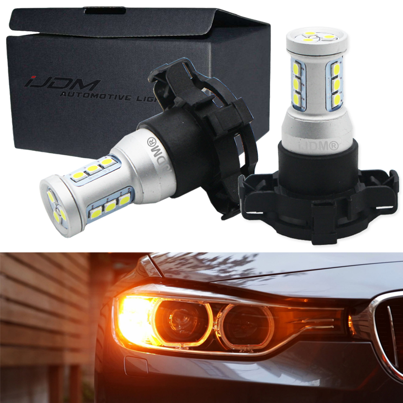 iJDM Canbus PY24W LED Bulbs For BMW Front Turn Signal Lights, Fit E90/E92 3 Series, F10/F07 5 Series, E83/F25 X3 E70 X5 E71 X6 2 rilliant red 7507 py21w canbus led replacement bulbs for bmw f30 f32 3 4 series rear turn signal lights or brake tail lights