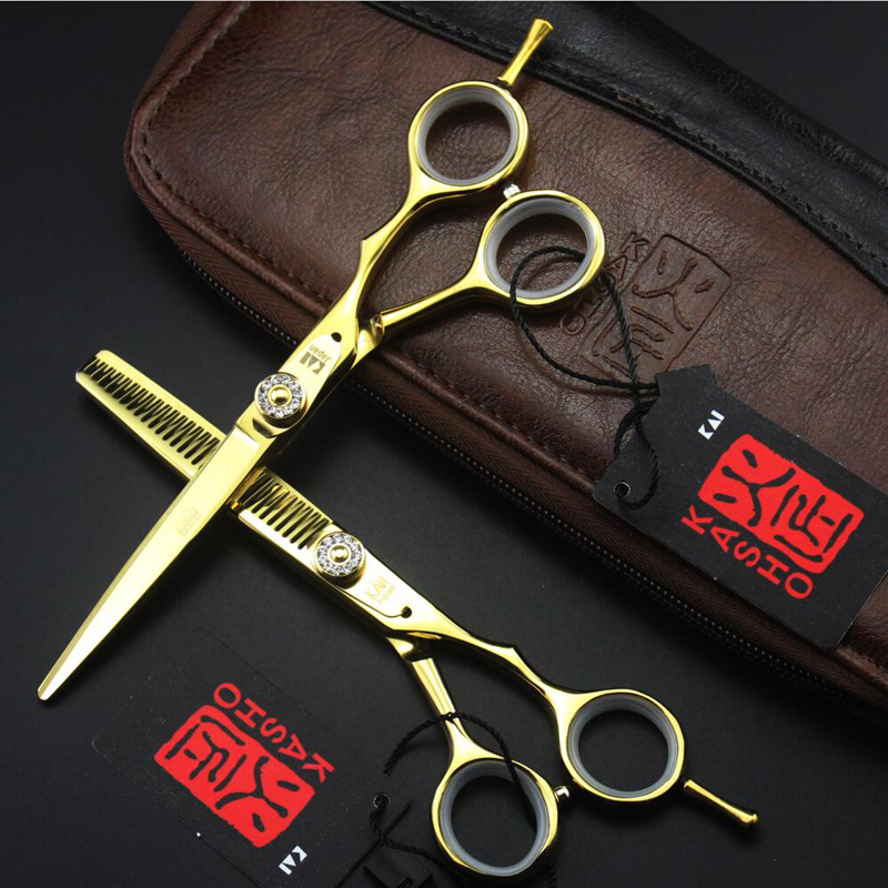 KASHO 5.5 inch 6 inch Professional Hair Scissors Hairdressing Barber Hair Cutting Scissors Thinning Tesouras Tijeras Pelo Salon 6 0 inch kasho dragon pen professional hair scissors set cutting