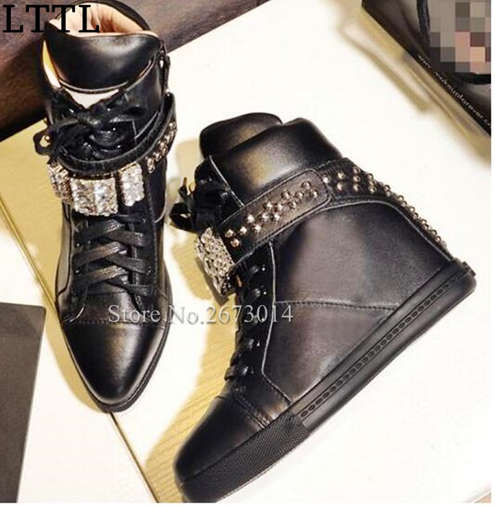 Best  Selling 2017 Winter Newest Bling Bling Crystal Height Increasing Ankle Boots Punk Style Rivets Studded Wedge Riding Boots