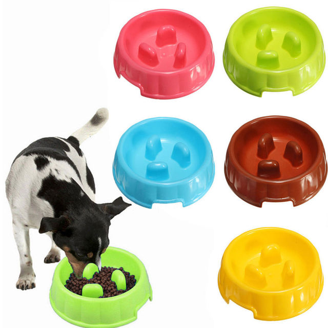 Anti Choke Pet Dog Bowls Portable Plastic Puppy Dog Slow Down Eating Feeder Bowl Pet Eating Feeder Dish