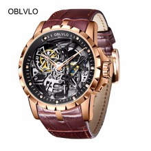OBLVLO Designer Skeleton Watch Mens Rose Gold Automatic Watches  Brown Leather Strap RM-1