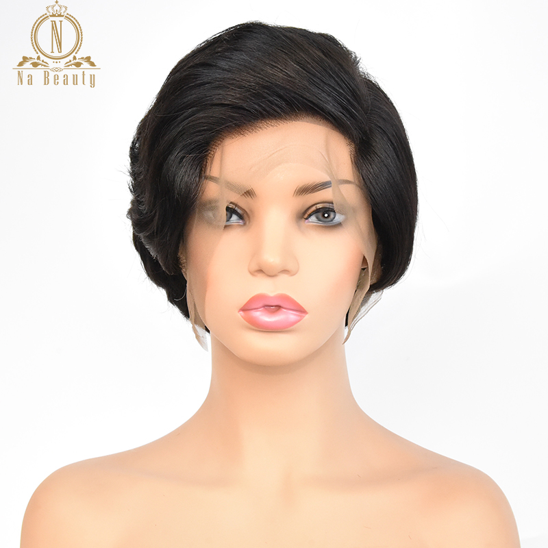 Wigs Short Human-Hair Natural-Wave Glueless Pixie-Cut Full-Lace Women Black for Peruvian