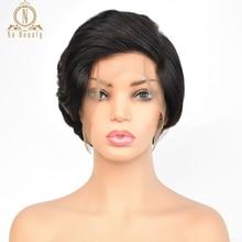 Бесклеевые полностью кружевные человеческие волосы короткие парики натуральная волна Pixie Cut Bob парики полностью кружевные черные парики для женщин перуанские волосы remy 150