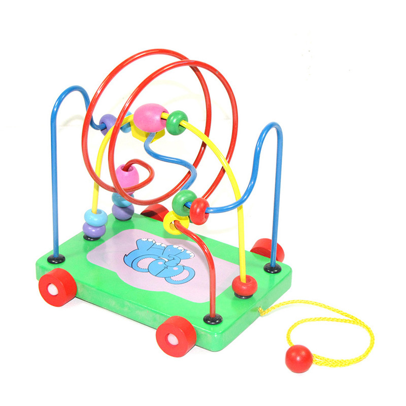Colourful Wooden Around Beads Blocks Toy Circles Bead ...