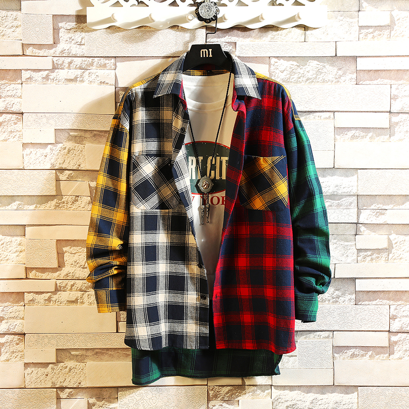 Image 4 - Spring personality Korean version of the trend of color matching plaid shirt men's casual hip hop loose long sleeved shirt 5XL-in Casual Shirts from Men's Clothing