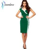 Green Sleeveless V Neck Formal Pencil Design One Piece New Girl Fashion Dress L36028-3 Sheath Knee Length S M L XL sizes
