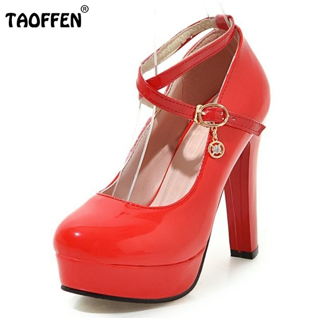 1ac44f75d6f7 TAOFFEN Women High Heel Pumps Women Thick Heeled Shoes Platform Patent  Leather Ankle Straped Casual Party Shoes Size 34-43