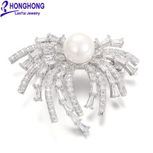 HONGHONG Cubic zirconia pearl pins and brooches High Quality Plant brooches for women Wedding Dress fashion Jewelry WX8028