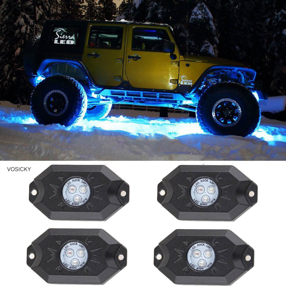 VOSICKY 4 pcs RGB LED Rock Light Kits with Bluetooth & Cell Phone Control Color Grad Multicolor Neon Lights Under Off Road Truck vosicky 4 pods multicolor neon led light kit rgb led rock lights with bluetooth controller for timing music mode flashing
