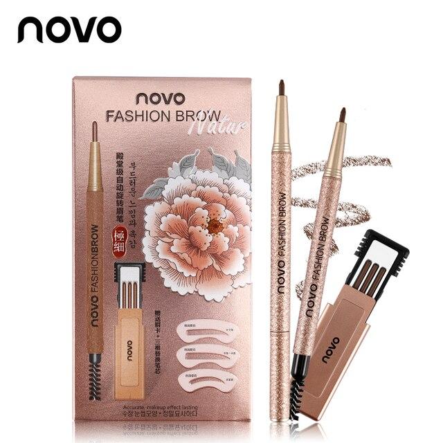 NOVO Fashion Brow Makeup Set Eyebrow Pen + 3pcs Refill + 3pcs Eyebrow Stencils Long Lasting Eye Brow Pencil