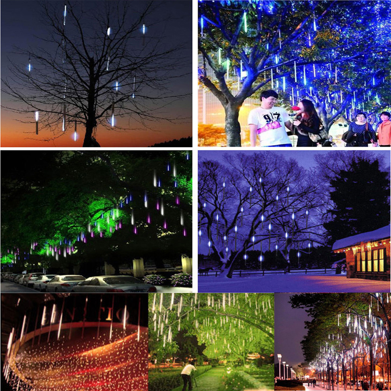 YAM Waterproof 30cm/50cm White/Green/Blue/Red/RGB LED Lights Meteor Shower Rain 8 Tube Xmas Tree Outdoor Light US/EU Plug
