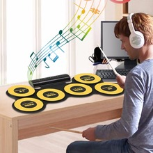 USB Portable Roll Up Silicone Electronic Drum 6 Silicon Drum Pads With Headphone Port Drumsticks Foot Pedals