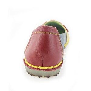 Image 5 - BEYARNE Summer Autumn Fashion Flower Design Round Toe Mix Color Flat Shoes Vintage Genuine Leather Women Flats Girl Loafer