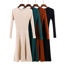 Pleated knitted sweater bodycon long winter dresses women autumn o neck sleeve  midi elastic slim party dress 283