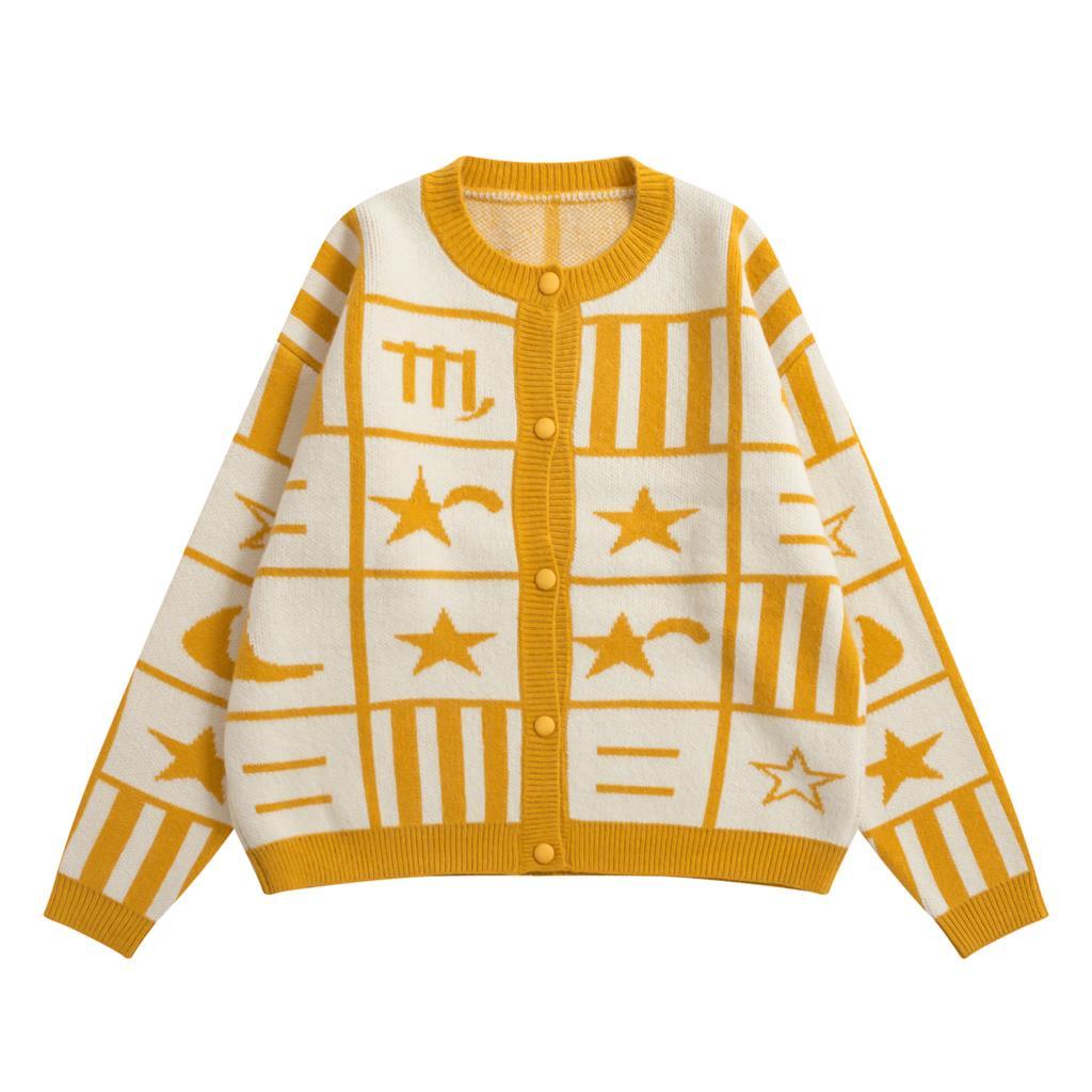 Femmes Chaud Vintage Tricot Manteau Style Hiver Jaune Japon Étudiants Fille Chandail Automne Géométrique Cardigan Adolescente Survêtement CxBordeW