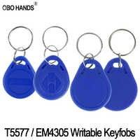 125 KHz RFID Beschreibbaren Keyfobs EM4305/T5577 Lesen und Schreiben Schlüsselkarte Kopiert Access Control System Metall Schlüsselanhänger Kleine blau Token
