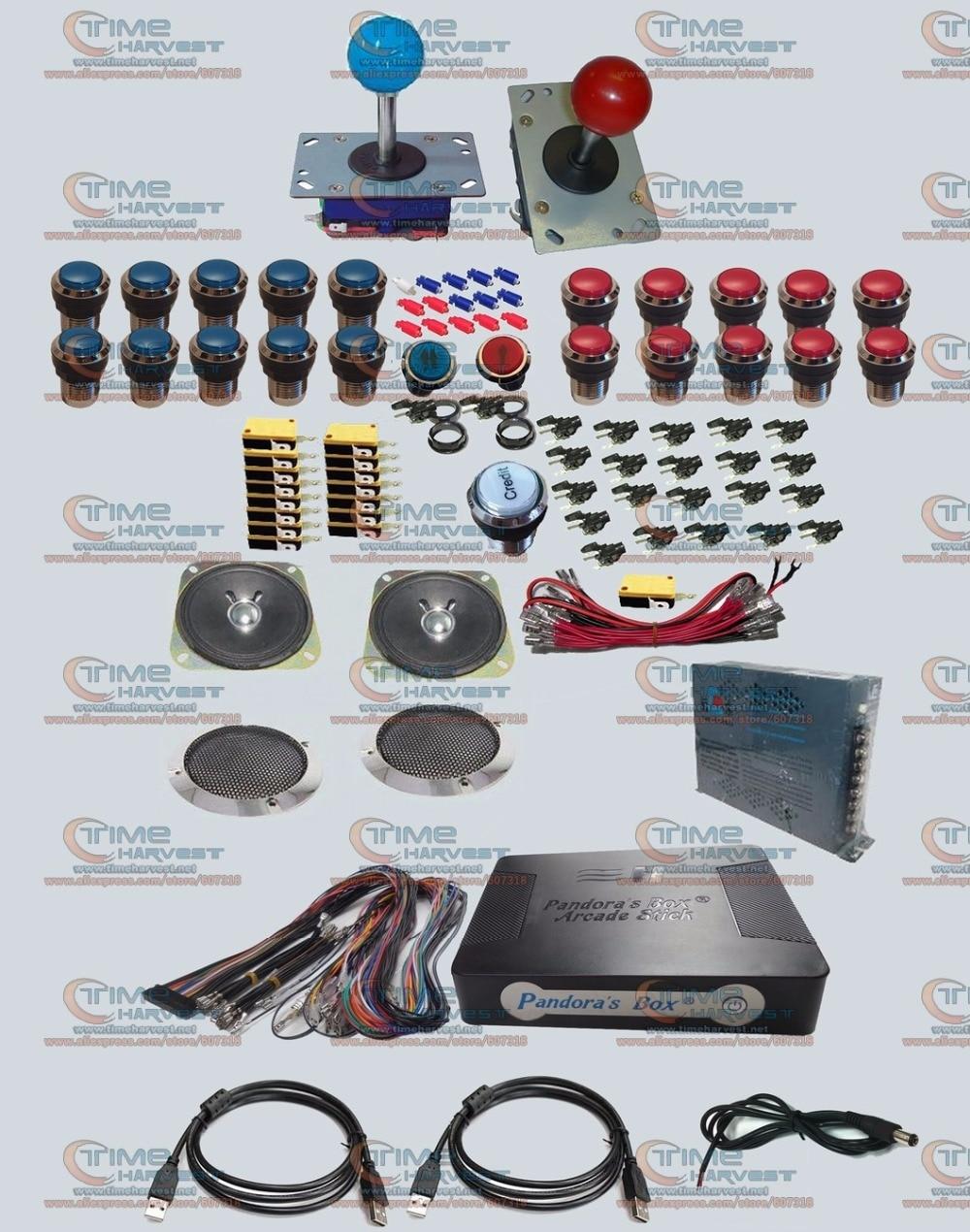 Arcade parts Bundles kit With Pandora's Box Arcade Stick Long shaft Joystick Silver illuminated button Microswitch Jamma Harness