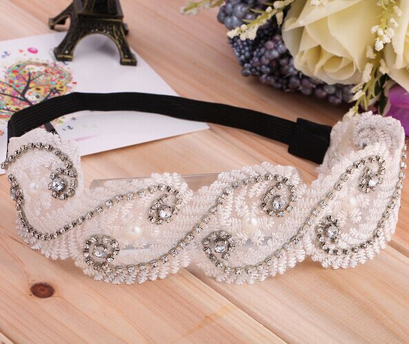 New sparkly gems beads crystal korea style lace chic retro elegant women headband women hair accessories 12pcs/lot