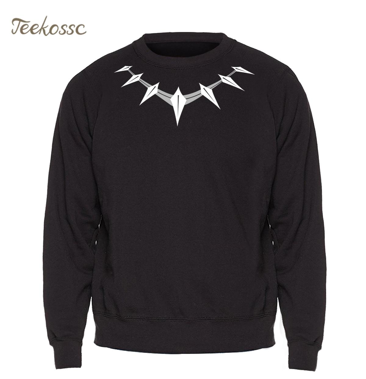 Black Panther Sweatshirt Men Necklace Logo Killmonger Hoodies Movie Crewneck Sweatshirts Winter Autumn African Shuri Streetwear