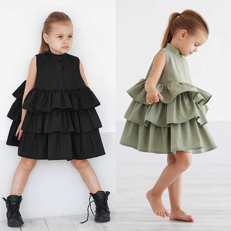 CANIS 2018 1-6Y Toddler Kid Baby Girls chiffon Ruffles dress Party Pageant Princess Summer Tutu baby girl Dresses Clothes Set