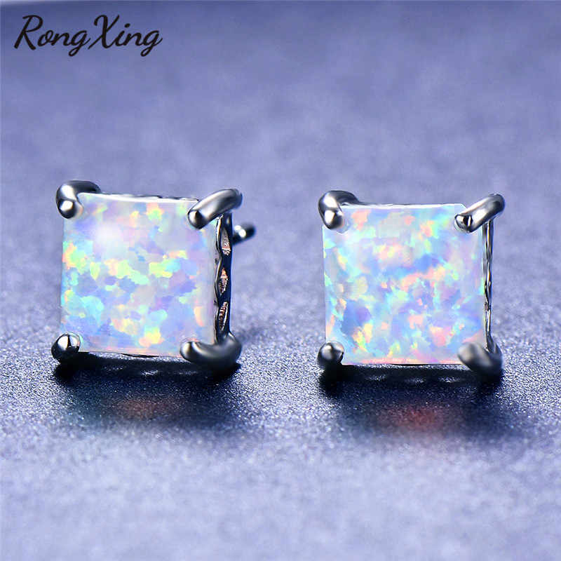 RongXing White Fire Opal/Zircon Square Stud Earrings for Women 925 Sterling Silver Filled Birthstone Earring Simple Fashion 2019
