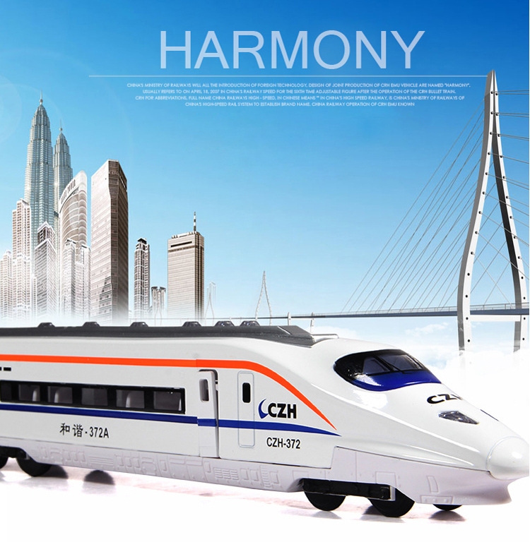 2017 Hot sell 1:36 CZH High Speed Train Diecast Alloy Metal Luxury Train Model Collection Model Pull Back Toys Car Gift For Boy