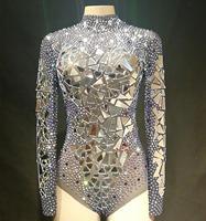 2019 сексуальная прозрачная сетка костюм сценическая танцевальная одежда зеркала камни сетки боди Купальник костюм для танцев YOUDU