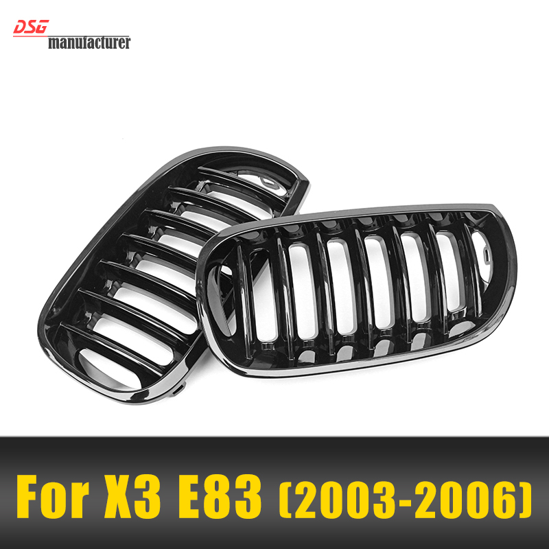 ФОТО x3 e83 m performance style gloss black abs front kidney grill grille mesh for bmw x3 series e83 pre-lci pre-facelift 2.5i