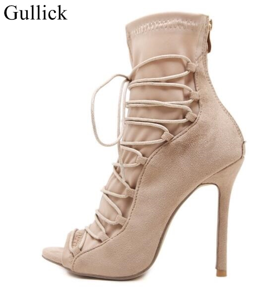Sexy Women Suede Leather Lace-up Gladiator Sandal Boots Peep Toe Super High Heels Ankle Boots Cut-out Cage Shoes Tight High Boot