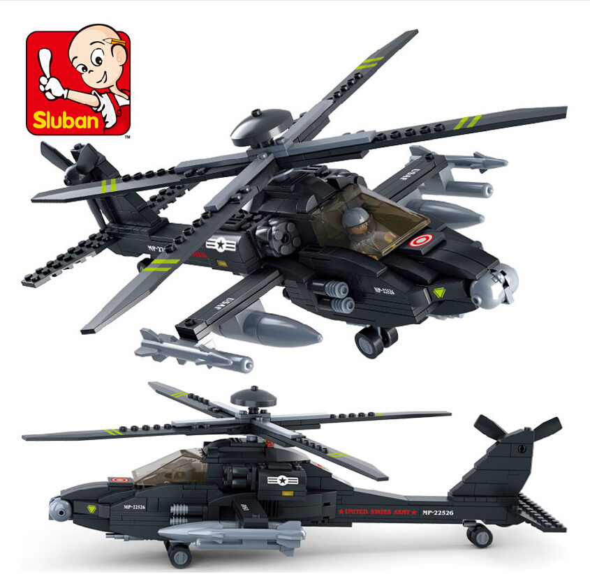 Sluban2014 military Apache AH-64 0511 new products fighter model Building Blocks Set boy children enlightenment educational toys