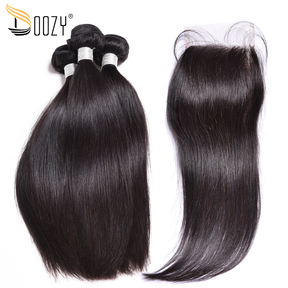 Doozy Straight Peruvian Human Hair Bundles With Lace Closure Natural Color Remy Human Hair Weave 3 Bundles With Closure