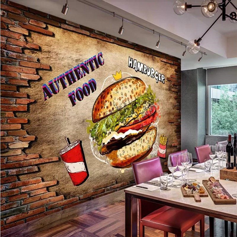 Custom Wallpaper Mural Fast Food Restaurant Burger Food Tooling Background Wall High-grade Wall Cloth