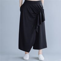 Personality Summer Women Pleated Black Wide Leg Loose Pants Female Casual Trousers Ladies Office Capris Culottes Cotton Capris