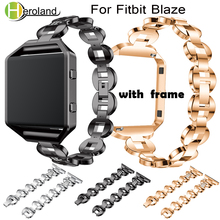 Strap For Fitbit Blaze Alloy Steel Watch Bands Adjustable Rhinestone Smart Watch Band Bracelet 23mm Wristband With Metal Frame watchbands stainless steel strap bands bracelet black silver gold with tool for fitbit alta blaze tracker smart wristband