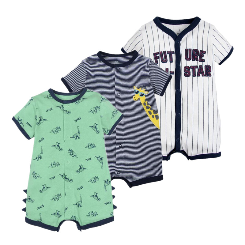 Summer 2019 baby boys clothes cotton Jumpsuit Short sleeve Roupas Menino for Baby Boy Body overalls , 0-24M baby   rompers