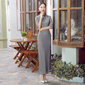 Gray Novelty Chinese FemaleTradition Qipao Women's Lace Long Cheong-sam Tang Suit Dress Vestido De Festa Size S M L XL XXL
