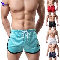 Pantalones cortos de secado rápido para hombre, Shorts transpirables de malla para correr, ropa de playa de doble capa, bañadores para gimnasio, pantalones cortos deportivos para entrenamiento y trotar
