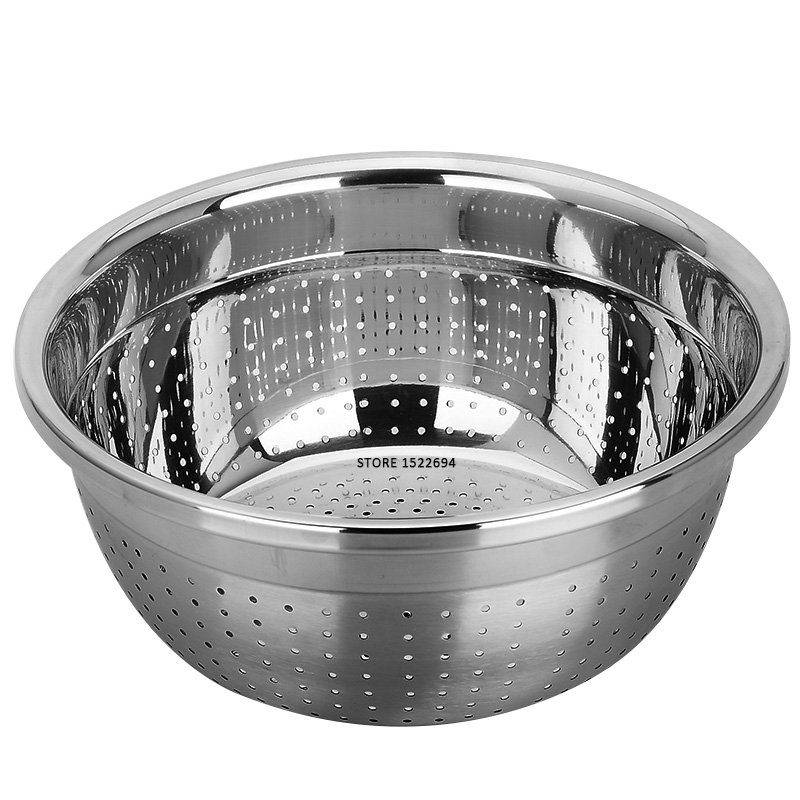Stainless Steel Kitchen Strainer High Vegetable Fruit Washing Colander Micro Perforated Strainer Strong Base with High