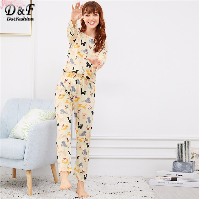 Dotfashion Beige Cat Butterfly Print   Pajama     Set   For Women Clothes 2019 Autumn Casual Long Sleeve Nightwear Cartoon   Pajama     Sets