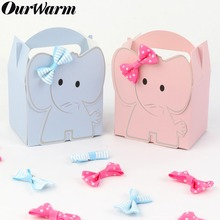 Ourwarm Cartoon Elephant Candy Box Blue Pink Kids Birthday Paper Sweet Gift Kawaii Baby Shower Decor Boy Girl Favors