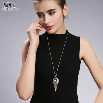 YouMap Personalized Vintage Punk Jewelry Bird Skull Necklace Antique Silver Bronze Crow Head Pendants Necklaces skull necklace raven skull