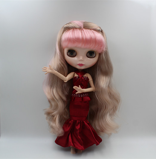 Blyth doll Mixed colors, bangs, curly hair, naked dolls, 19 joint bodies, gift toys, all can be changed. free shipping bjd joint rbl 415j diy nude blyth doll birthday gift for girl 4 colour big eyes dolls with beautiful hair cute toy