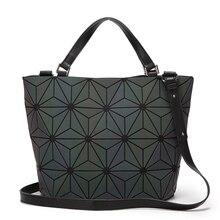 Luminous BaoBao frauen handtaschen Geometrie Pailletten Diamant Saser Einfachen Klapp Eimer damentaschen Damen Casual Tote Bao bao tasche