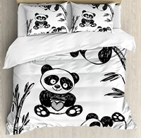 Arrow Duvet Cover Set Cheerful Panda Different Poses with Bamboo Branch Children Painting Art Print 4 Piece Bedding Set